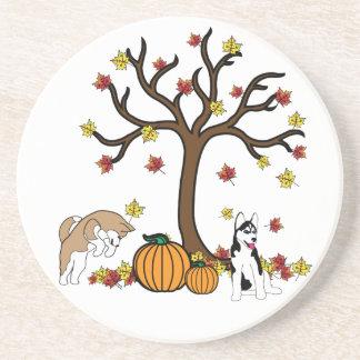 Fall Husky Sandstone Coaster