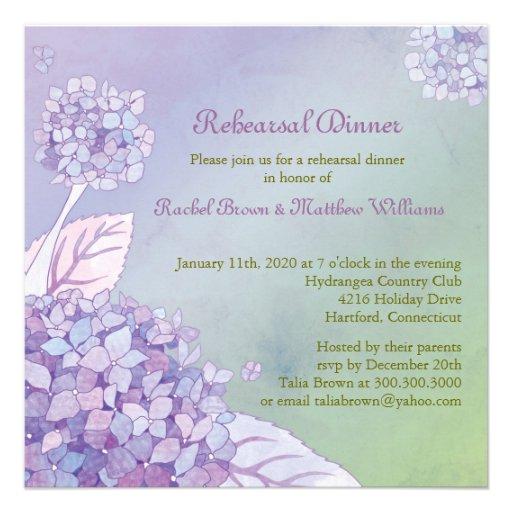 Fall Hydrangea Wedding Rehearsal Dinner Invitation from Zazzle.