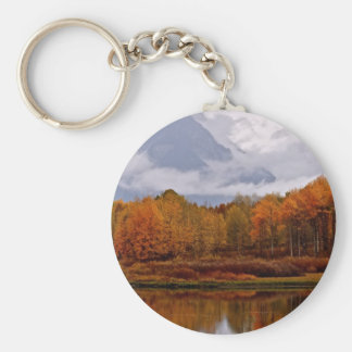 FALL IN GRAND TETON NATIONAL PARK BASIC ROUND BUTTON KEYCHAIN