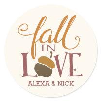Fall in Love | Autumn Acorn Personalized Classic Round Sticker