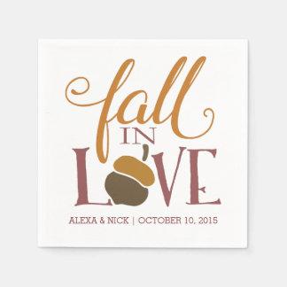 Fall in Love | Autumn Acorn Wedding Engagement Napkin