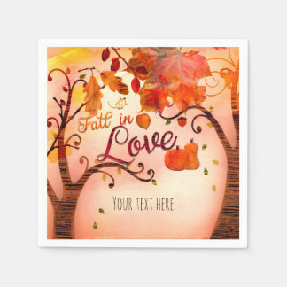 FALL IN LOVE Autumn Bridal Shower Any Event Paper Napkin