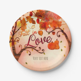 FALL IN LOVE Autumn Bridal Shower Any Event Paper Plate  sc 1 st  Zazzle : fall paper plates - pezcame.com