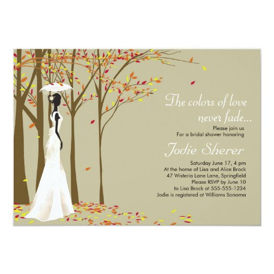fall in love autumn bridal shower invitation