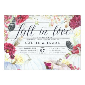Fall in Love | Autumn Engagement Party Invitation