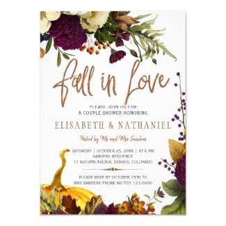 Fall in love autumn floral couple shower invitation