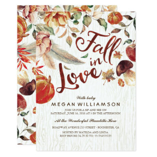 Fall in Love Autumn Harvest Pumpkin Baby Shower Card