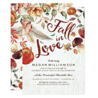 Fall in Love Autumn Harvest Pumpkin Baby Shower Invitation