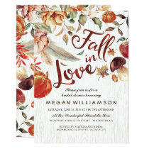 Fall in Love Autumn Harvest Pumpkin Bridal Shower Invitation