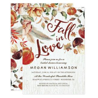 Fall in Love Autumn Harvest Pumpkin Bridal Shower Invitation