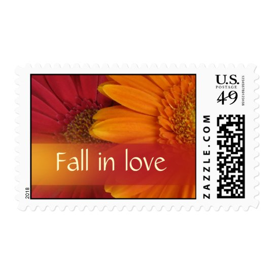 Fall in love Autumn wedding postage