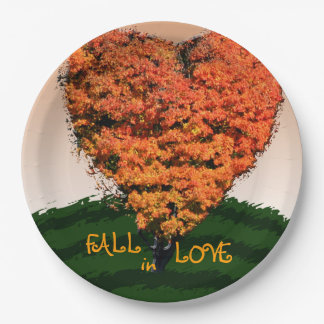Fall In Love Autumn Wedding Rustic Design Paper Plate