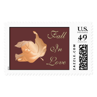 Fall In Love Autumn Wedding Weddings RSVP Invite Postage Stamp
