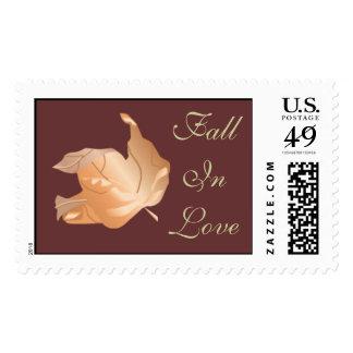 Fall In Love Autumn Wedding Weddings RSVP Invite Postage Stamp