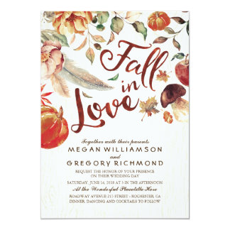 Fall in Love Boho Rustic Floral Pumpink Wedding Invitation