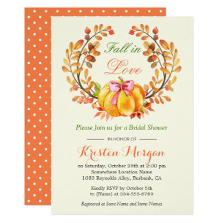 Fall in Love Bridal Shower Autumn Pumpkin Floral Card