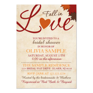 Sample invitations announcements zazzle fall in love bridal shower invitation stopboris Images