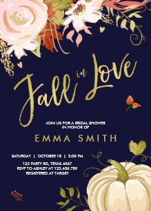 fall in love bridal shower invitation baby autumn