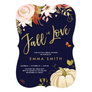 Fall in Love  Bridal shower invitation Baby Autumn