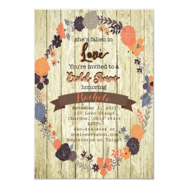 Beach Themed Fall In Love Bridal Shower Invitation with Flowers