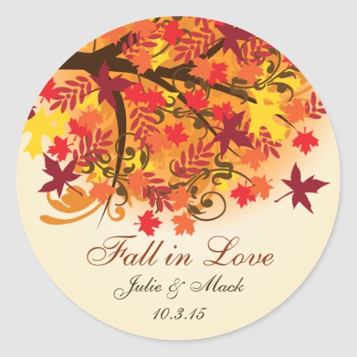 Fall in Love Bridal Shower Wedding Sticker Label