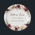 "Fall in Love Burgundy Floral Bridal Shower Plate<br><div class=""desc"">Matching Fall Bridal Shower Collection in the Little Bayleigh Store!</div>"