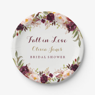 fall in love burgundy floral bridal shower plate