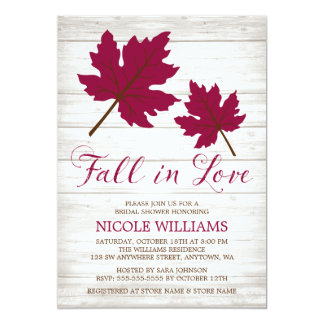 Fall in Love Burgundy Leaves Bridal Shower Card