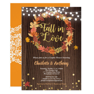 Fall in love couples shower invitation wreath