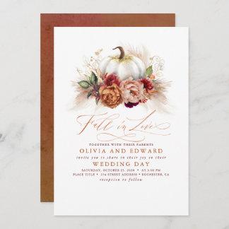 Fall in Love Elegant Wedding Rust Flowers Pumpkin Invitation
