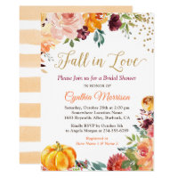 Fall in Love Floral Pumpkin Autumn Bridal Shower Invitation