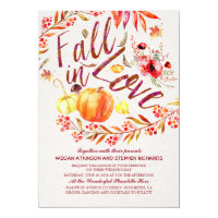 Fall in Love Floral Pumpkin Rustic Country Wedding Card