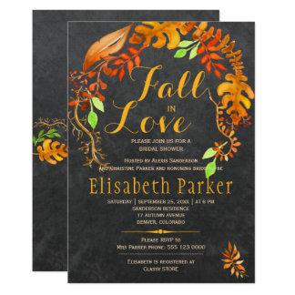 Fall in love gold leaves chalkboard bridal shower card