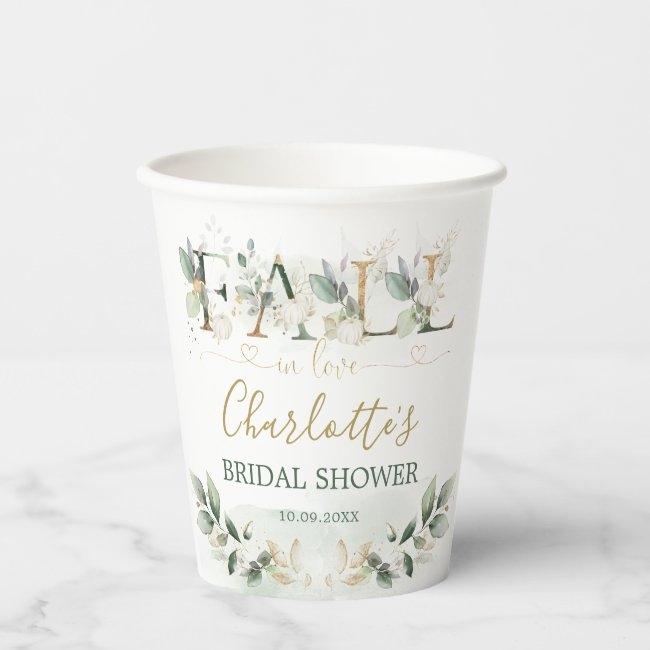 Fall in Love Greenery Gold Pumpkin Bridal Shower Paper Cups