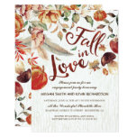 Fall In Love Harvest Pumpkin Engagement Party Card at Zazzle