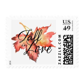 Fall in Love Maple Leaves Autumn Postage