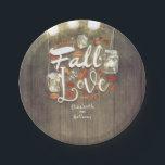 "Fall in Love Mason Jar Lights Rustic Wedding Paper Plate<br><div class=""desc"">Rustic fall paper plates</div>"