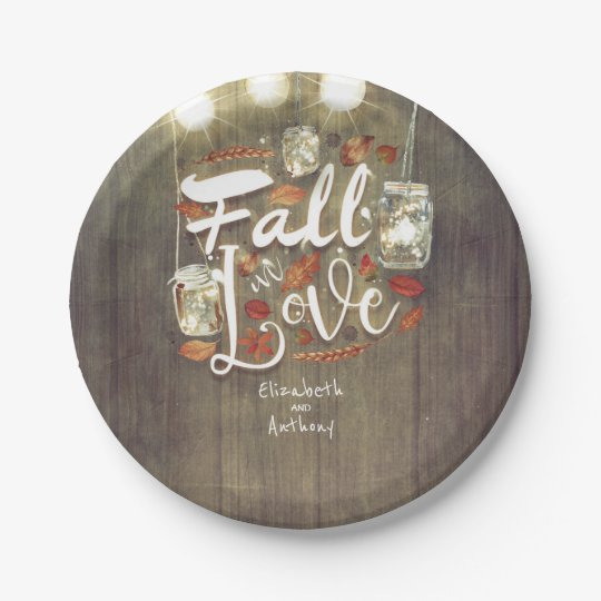 Fall in Love Mason Jar Lights Rustic Wedding Paper Plate | Zazzle.com