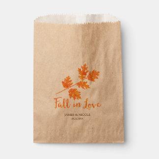Fall in Love Orange Watercolor Leaves Wedding Favor Bag