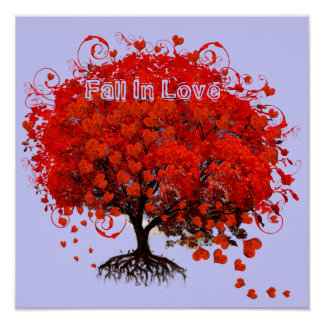 Fall In Love Poster Swirl Hearts Falling From Tree
