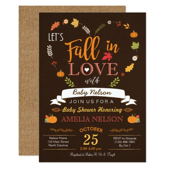Exceptional Fall In Love Pumpkin Baby Shower Invitation