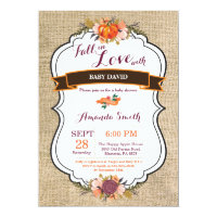Fall in Love Pumpkin Baby Shower Invitation Burlap