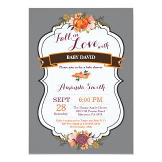 Fall in Love Pumpkin Baby Shower Invitation Gary