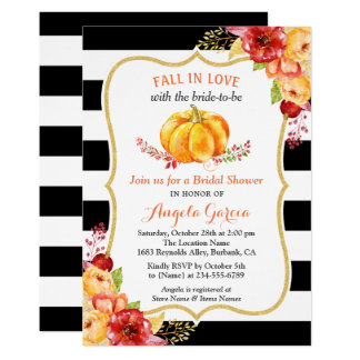 Fall in Love Pumpkin Floral Fall Bridal Shower Card