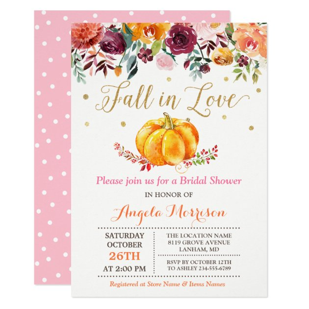 Fall in Love Pumpkin Gold Pink Bridal Shower Card