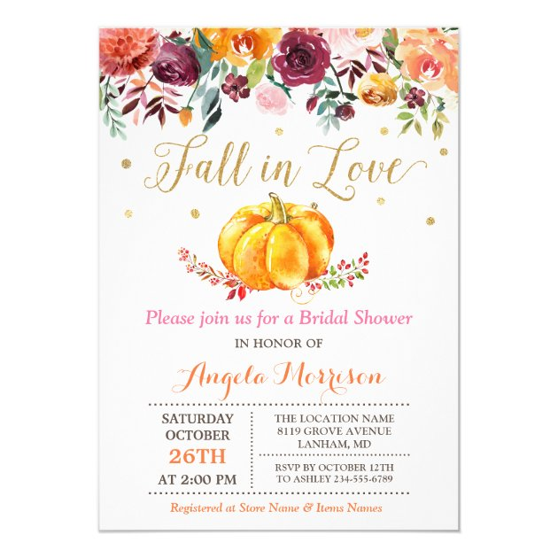 Fall in Love Pumpkin Gold Pink Bridal Shower Card (back side)