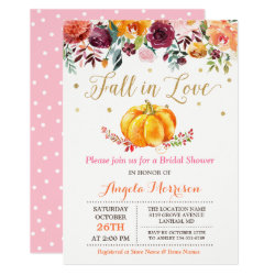 Fall in Love Pumpkin Gold Pink Bridal Shower Invitation