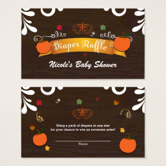 Fall in Love Pumpkins Leaves & Wood Diaper Raffle Business Card