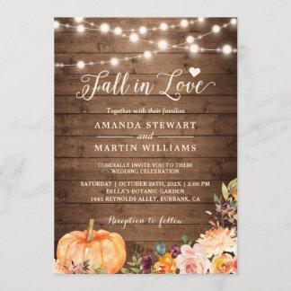 Fall in Love Rustic Autumn Floral Pumpkin Wedding Invitation