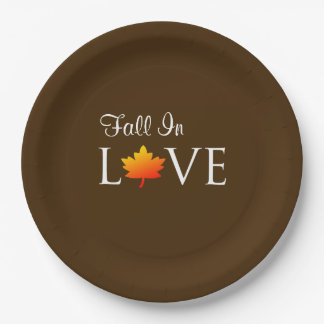Fall In Love Rustic Autumn Wedding Orange Leaf Paper Plate
